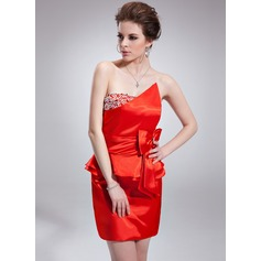 Sheath/Column Scalloped Neck Short/Mini Charmeuse Cocktail Dress With Ruffle Beading Bow(s)