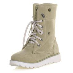 Women's Suede Flat Heel Flats Closed Toe Boots Mid-Calf Boots shoes