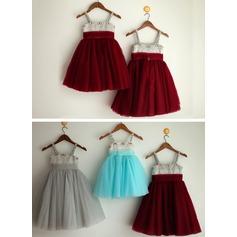 A-Line/Princess Tea-length Flower Girl Dress - Satin/Tulle Sleeveless Straps With Rhinestone