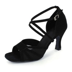 Women's Suede Heels Latin With Ankle Strap Dance Shoes