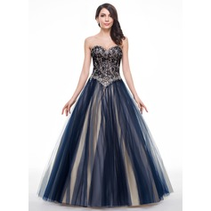 Ball-Gown Sweetheart Floor-Length Tulle Lace Prom Dress With Beading Sequins (018056781)