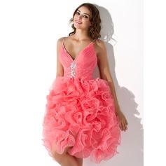 A-Line/Princess V-neck Knee-Length Organza Homecoming Dress With Beading Sequins Cascading Ruffles