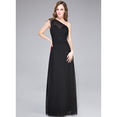 Sheath/Column One-Shoulder Floor-Length Chiffon Evening Dress With Lace