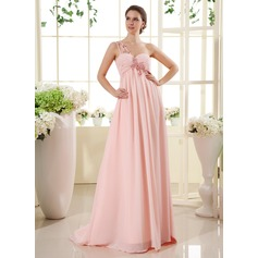 Empire One-Shoulder Sweep Train Chiffon Prom Dress With Ruffle Beading Appliques Lace