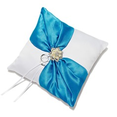 Elegant Ring Pillow in Satin With Rhinestones/Faux Pearl