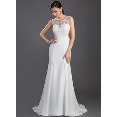 Trumpet/Mermaid Scoop Neck Sweep Train Chiffon Prom Dress With Beading Split Front