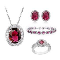 Exquisite Copper/Zircon/Platinum Plated Ladies' Jewelry Sets