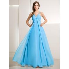 Empire V-neck Floor-Length Chiffon Holiday Dress With Ruffle Beading