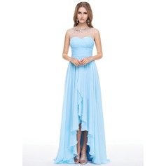 Empire Scoop Neck Asymmetrical Chiffon Evening Dress With Beading Sequins Cascading Ruffles
