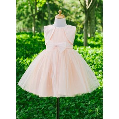 A-Line/Princess Flower Girl Dress - Satin/Tulle Sleeveless Scoop Neck With Bow(s)/Rhinestone
