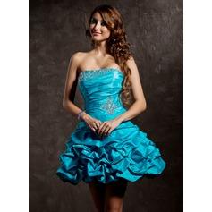 A-Line/Princess Strapless Short/Mini Taffeta Homecoming Dress With Ruffle Beading Sequins