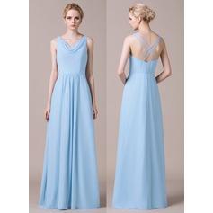 A-Line/Princess Cowl Neck Floor-Length Chiffon Bridesmaid Dress With Ruffle