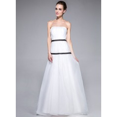 A-Line/Princess Strapless Sweep Train Organza Evening Dress With Ruffle Sash