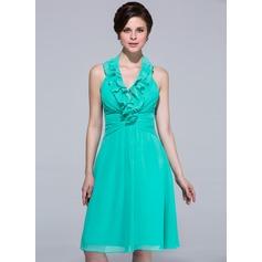 A-Line/Princess Halter Knee-Length Chiffon Bridesmaid Dress With Cascading Ruffles