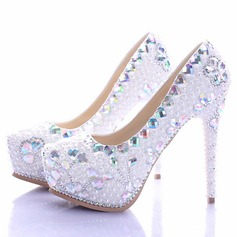 Women's Real Leather Stiletto Heel Platform Pumps With Crystal Pearl