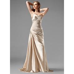 A-Line/Princess Sweetheart Sweep Train Charmeuse Prom Dress With Ruffle Beading Sequins