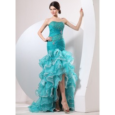 Trumpet/Mermaid Sweetheart Asymmetrical Organza Prom Dress With Ruffle Beading Cascading Ruffles