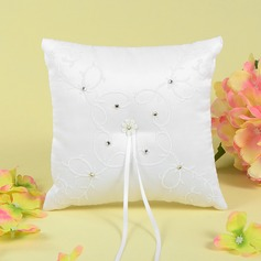 Grace Ring Pillow With Rhinestones/Embroidery