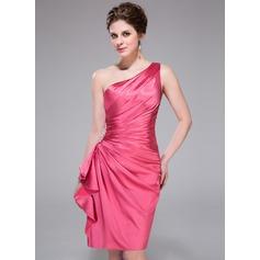 Sheath/Column One-Shoulder Knee-Length Charmeuse Bridesmaid Dress With Beading Cascading Ruffles