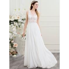 A-Line/Princess V-neck Sweep Train Chiffon Wedding Dress
