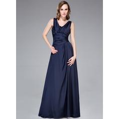 A-Line/Princess V-neck Floor-Length Satin Chiffon Evening Dress With Ruffle Beading