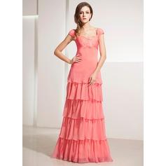 A-Line/Princess Sweetheart Floor-Length Chiffon Holiday Dress With Lace Cascading Ruffles