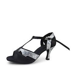 Women's Satin Sparkling Glitter Heels Sandals Latin Ballroom With T-Strap Dance Shoes