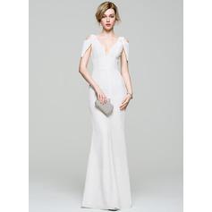 Sheath/Column V-neck Floor-Length Chiffon Prom Dress