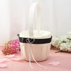 Beautiful Flower Basket in Satin With Rhinestones