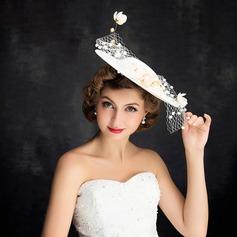 Ladies' Elegant Net Yarn/Lace/Imitation Pearls/Linen With Flower Fascinators