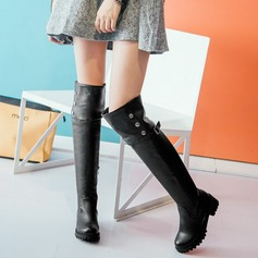 Women's Leatherette Flat Heel Boots Over The Knee Boots With Rivet Buckle Zipper shoes (088109405)