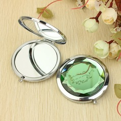 """Personalized """"Best Wishes"""" Stainless Steel Compact Mirror"""