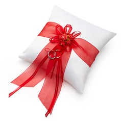 Romantic Rose Ring Pillow in Satin With Bow