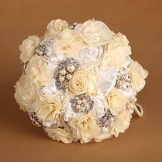Pretty Round Satin/Silk Bridal Bouquets