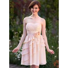 Empire Sweetheart Knee-Length Chiffon Bridesmaid Dress With Flower(s) Cascading Ruffles