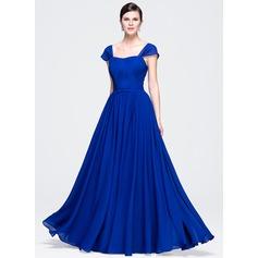 A-Line/Princess Sweetheart Floor-Length Chiffon Evening Dress With Ruffle Bow(s)
