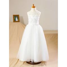 A-Line/Princess Floor-length Flower Girl Dress - Tulle/Lace Sleeveless Stand Collar