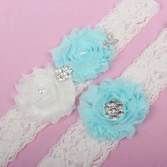 Delicate Lace/Chiffon With Rhinestone/Imitation Pearls Wedding Garters