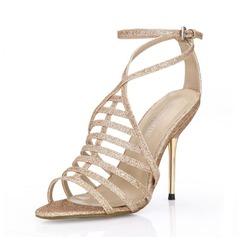 Women's Sparkling Glitter Stiletto Heel Sandals Peep Toe shoes