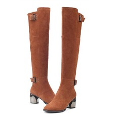 Women's Real Leather Chunky Heel Over The Knee Boots With Buckle shoes