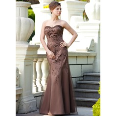 Trumpet/Mermaid Sweetheart Floor-Length Satin Mother of the Bride Dress With Beading Sequins
