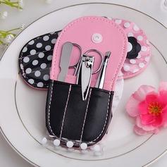 Elegant Stainless Steel Manicure Kit With Pink Polka Dot Flip Flop Case