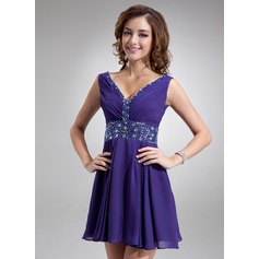 A-Line/Princess V-neck Short/Mini Chiffon Cocktail Dress With Ruffle Beading