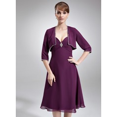 Empire Sweetheart Knee-Length Chiffon Mother of the Bride Dress With Ruffle Crystal Brooch