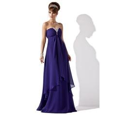 A-Line/Princess Strapless Floor-Length Chiffon Evening Dress With Ruffle Beading