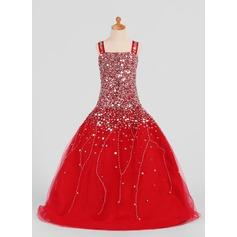 Ball Gown Floor-length Flower Girl Dress - Satin/Tulle Sleeveless Straps With Sequins