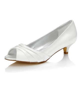 Women's Satin Low Heel Peep Toe Sandals Dyeable Shoes