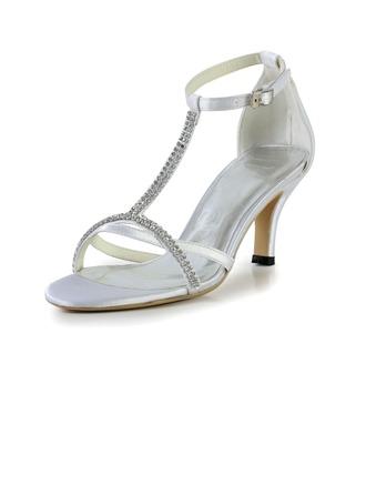 Women's Silk Like Satin Cone Heel Sandals With Buckle Rhinestone