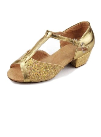 Women's Leatherette Sparkling Glitter Sandals Latin Ballroom With T-Strap Dance Shoes
