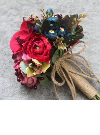 Red Artificial Silk Bridal Bouquets -